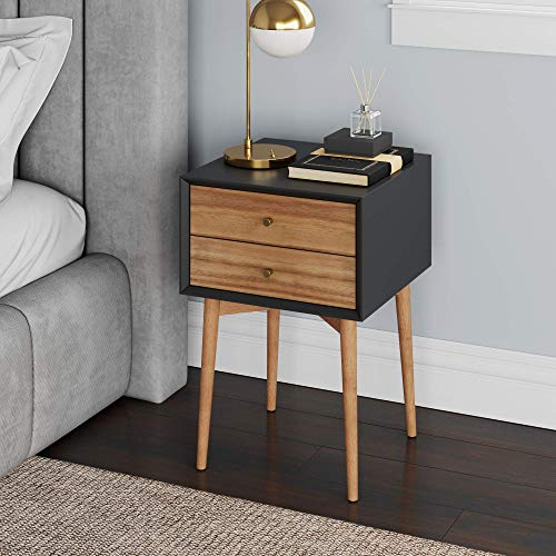 Nathan James Harper Mid-Century Side, 2-Drawer Nightstand, Accent or End Table with Storage, Wood, Black/Brown