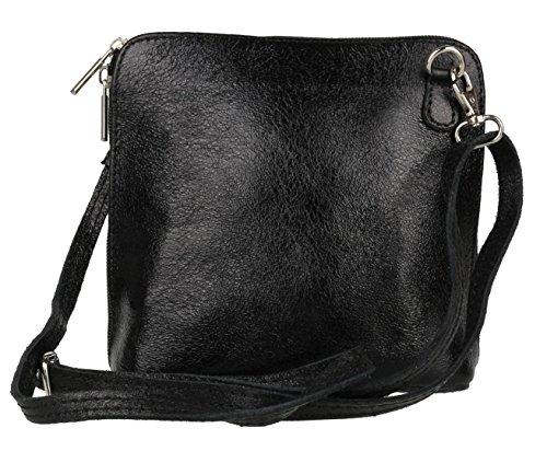 negro de Bolso para metalizado Piel cruzados Girly mujer Handbags Uq0xn7UOt