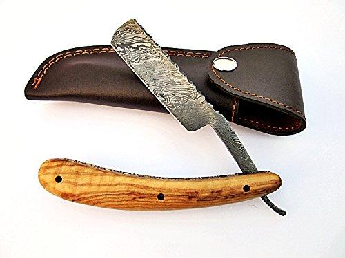 RZ-2081, Custom Handmade Damascus Steel Straight Razor - Beautiful File Work on Olive Wood Handle