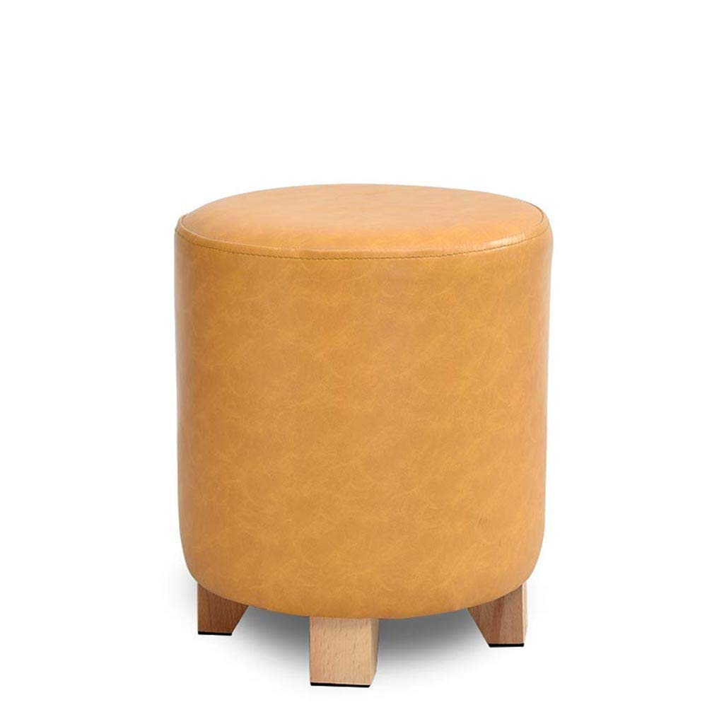 Yellow Fashion Creative Personality Solid Wood Leather Stool Sofa Stool Dressing Stool Stool shoes Bench FENPING (color   Black)