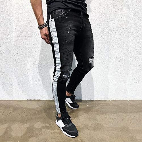 E Sfilacciati Sottili Sottile Pantaloni Da Stretto Nero Uomo Caldi Pezzetti Dall'aspetto Elasticizzati Skinny Sexy Jeans A Yunyoud Strappati vWZ7vP