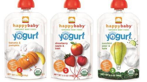Счастливый Органические Baby Baby Food Этап 2 Греческий йогурт Разнообразие в упаковке 12