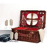 La cesta 'Redgrave' picnic para 4 personas con compartimento refrigerador y accesorios Integrado - ideales idea de regalo para la boda, aniversario, cumpleaños, retiro