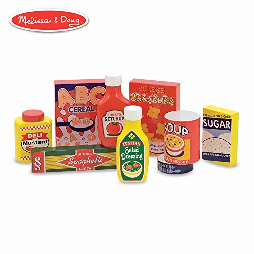 (Melissa & Doug Pantry Food Set (Wooden Play Food, Pretend Play, Hand-Painted Wood, Sturdy Construction, 9 Pieces))