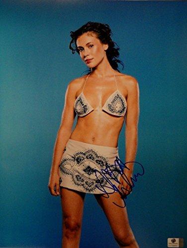 Alyssa Milano Hand Signed Autographed 11x14 Photo Sexy Bikini Top GA 758850