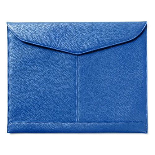 Leatherology Document Envelope with Magnetic Closure - Full Grain Leather - Cobalt (Pebbled Leather Padfolio)