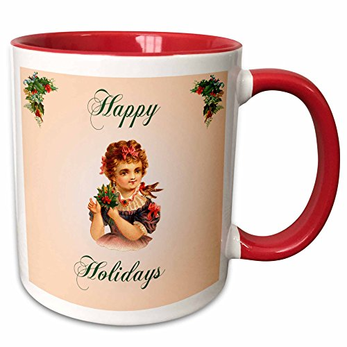 - 3dRose BLN Vintage Christmas Illustration Reproductions - Happy Holidays Girl with Red Bows Bird and Holly with Berries - 15oz Two-Tone Red Mug (mug_169898_10)