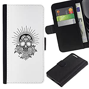 Be-Star la tarjeta de Crédito Slots PU Funda de cuero Monedero caso cubierta de piel Para Apple (5.5 inches!!!) iPhone 6+ Plus / 6S+ Plus ( White Black Sun Skull Flowers Rose )