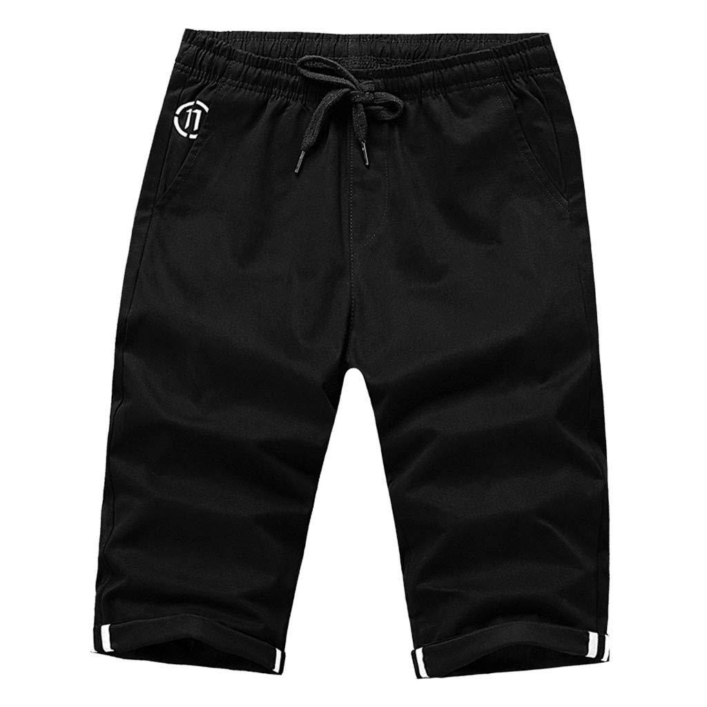 Men's Capri Shorts | Mens Casual Regular Fit Solid Color Drawstring Elastic Waist Pants | Comfy Beach Trousers with Pocket
