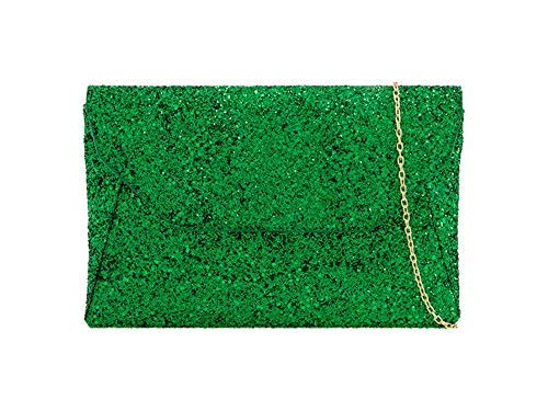 Green Ladies Haute Diva Glitter Envelope Clutch Silver for Bag wq86qz