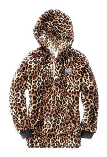 Victoria's Secret Pink New Half Zip Sherpa Hoodie Leopard Prints (Sold Out Online) (Medium)