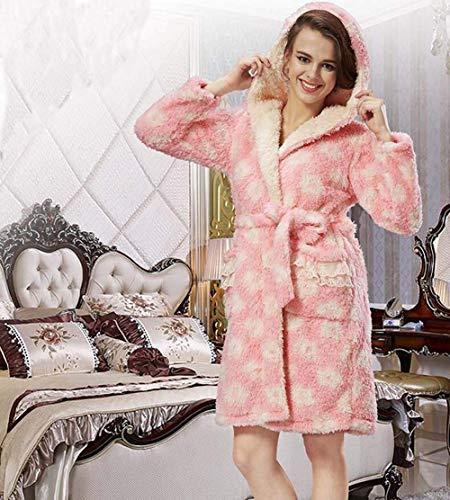 De Abrigo Colour Manga Camisón Cálido Larga Albornoz Vintage Vestido Pijama Sauna Rosa Cómoda Mujer Suave Espesar dWqSZ7