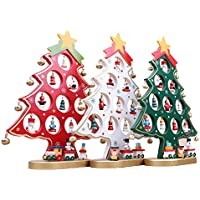 luoem en bois arbre de Noël Décoration Noël Arbre de bureau de table rouge