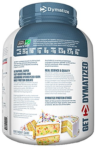 Amazon Dymatize ISO 100 Whey Protein Powder Isolate Birthday Cake 5 Pound Health Personal Care