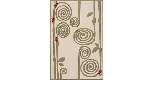 Amazon.com: Ivory Ladybug Print Hand Tufted Acrylic Rug   Lil Mo Whimsy  LMJ 3 (8.0 Ft. X 10.0 Ft. Rectangle): Kitchen U0026 Dining