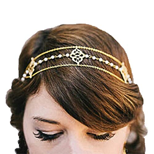 (Alloy Pearl Headband Head Chain Fashion Party Wedding Headpiece Jewelry for Women and Girls, A Great Addition to Your)