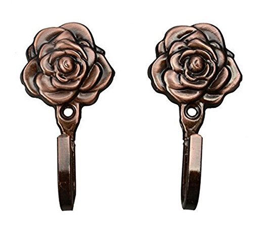 Windspeed Rose Pattern Wall Mount Entryway Single Storage Hook Hanger for Jackets, Coats, Hats, Scarves, Etc - Pack of 2