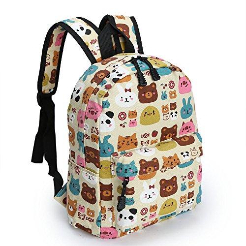 Zicac Childrens' Cute Canvas School Backpacks Mini Rucksack School Bag (M, Beige)