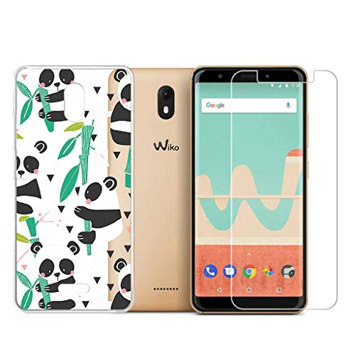 Wenjie Wiko View Go (5.7 inch) Shell Soft transparent Adorable Panda silicone TPU Case Cover, Free give it an Scratch-resistant tempered glass !
