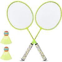 Vbest life Juego de Raquetas de bádminton para niños de 1 par, Juego de Raquetas de bádminton para Deportes al Aire Libre para niños con 2 Bolas