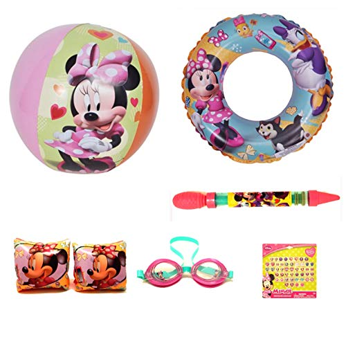 (UPD Disney Junior Minnie Mouse 5 Piece Beach & Pool Bundle Set w/ Bonus 24 Sticker Earrings)