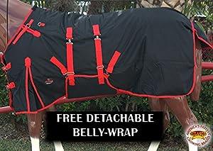 "HILASON 72"" 1200D Waterproof Poly Turnout Horse Winter Belly WRAP Blanket Black"