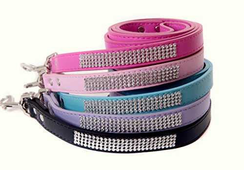 Lushpetz Rhinestone Diamante Dog Leash for Small/Medium Dogs Available in Pink, Black, Red, Blue & Purple (Light Pink)