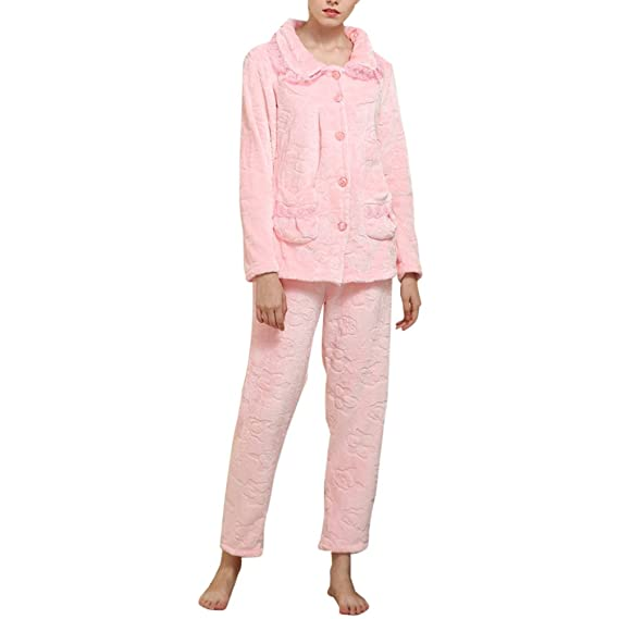 8cdfa54ec09e6 Image Unavailable. Image not available for. Colour: Zhhlaixing Fashion  Ladies Cozy Soft Flannel Pajamas Set ...