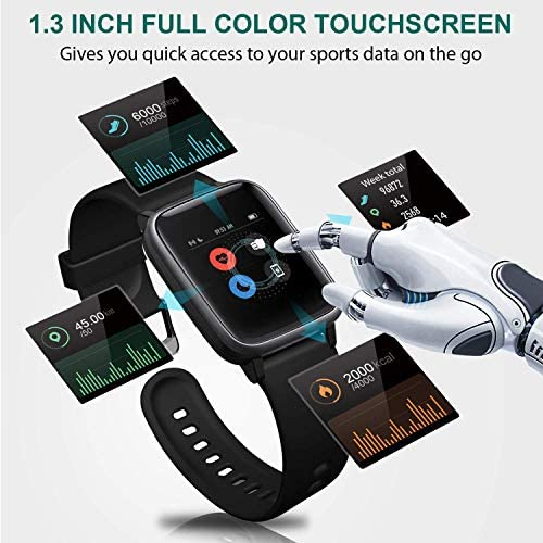 MSRVI Fitness Tracker Watch for Men Women Smart Watch for Android Phones iOS Phones, IP68 Waterproof Pedometer Watch with Heart Rate Monitor Step Calories Tracker Sleep Monitor 8