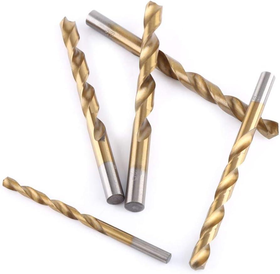 Twist Drill Bit Micro Titanium Drill Bits,19Pcs High Speed Steel Titanium Coated Twist Drill Bit Set 1-10Mm Straight Shank For Wood Plastic Aluminum Copper Steel
