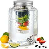KooK Glass Drink Dispenser with Fruit & Ice Infuser and Stainless Steel Spigot, 2 Gallon