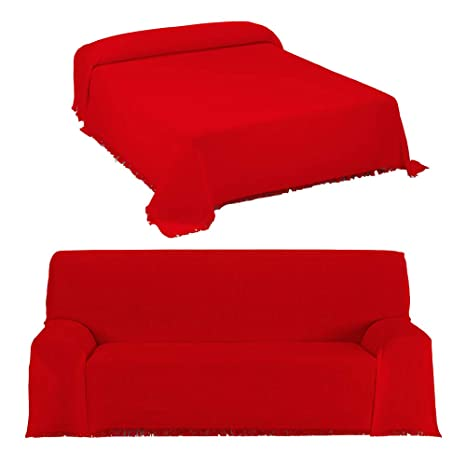 DHestia - Colcha Multiusos de Cama y Funda Cubre Sofá con Flecos Modelo Canalé. (180x260 cm, Rojo)