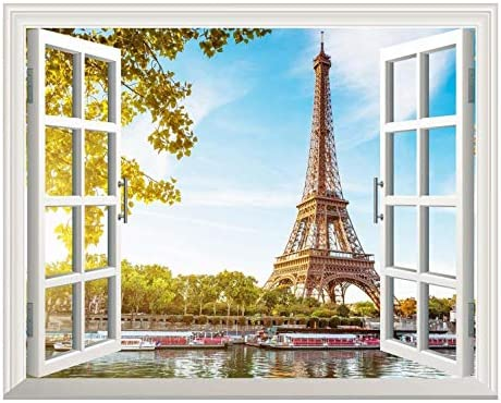 Removable Wall Sticker/Wall Mural - Eiffel Tower View Out of The Open Window Creative Wall Decor - 24