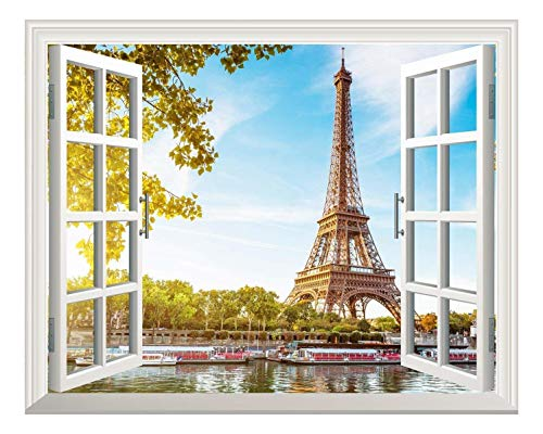 Paris Murals - wall26 Removable Wall Sticker/Wall Mural - Eiffel Tower View Out of The Open Window Creative Wall Decor - 24