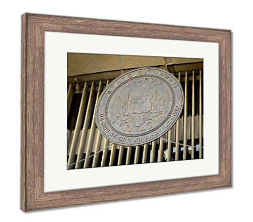 - Ashley Framed Prints Hawaii State Seal, Wall Art Home Decoration, Color, 34x40 (Frame Size), Rustic Barn Wood Frame, AG6406411
