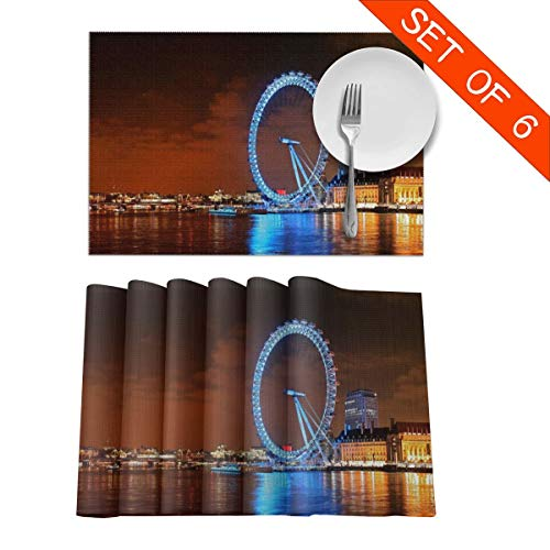 Baerg Table Mats,Placemat Set of 6 Non-Slip Washable Place Mats - London Ferris Wheel Night Landscape Heat Insulation Stain Resistant Kitchen Dining Table Mats 12x18 in ()