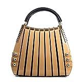 Bravo Beverly Hills Luxury HANDBAG~Irina Signature Series~Cream & Black Leather Handbag~Size Medium