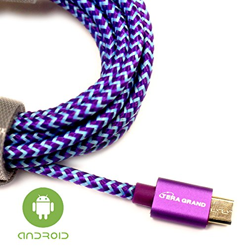 Tera Grand - USB 2.0 A to Micro USB Braided Cable, 6 Purple & Blue - Micro USB/Micro B Charge and Sync Cord for Android Samsung Nokia Nexus Phones and More Not for iPhone & iPad