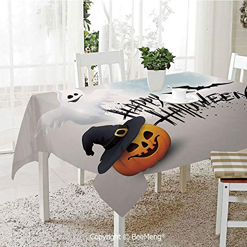 BeeMeng Large dustproof Waterproof Tablecloth,Family Table Decoration,Halloween,Happy Celebration Typography Stained Look Cute Ghost Pumpkin Hat Print Decorative,White Black Orange,70 x 104 inches -