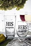 His and Hers, Sip Happens, Pint Glass, Stemless Wine Glass, Mr and Mrs Gift Set for Wedding, Anniversary, Newlyweds and Couples Gifts (Set of 2)