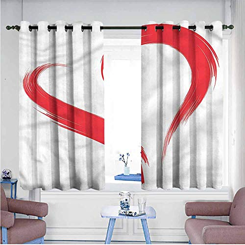 Mdxizc Bedroom Curtain Love Brush Drawing Heart Sign Girl Room Blackout Curtain W55 xL45 Suitable for Bedroom,Living,Room,Study, etc.