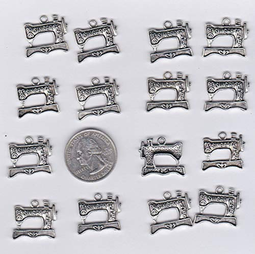 (15 Metal Old TIME Singer Sewing Machine Charms C 4 Crafting Key Chain Bracelet Necklace Jewelry Accessories Pendants)