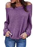 JOYCHEER Womens Off The Shoulder Sweaters Fall Oversized Cable Knit Pullover Jumper