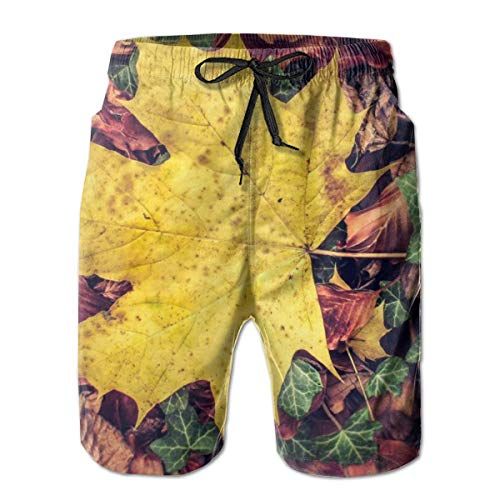 YongColer Boys Yellow Maple Leaf Cargo Short Beachwear for Beach Outdoor Surf - Breathable Quick Dry Loose Full Elastic Drawstring Half Pants Big & Tall Cargo Short