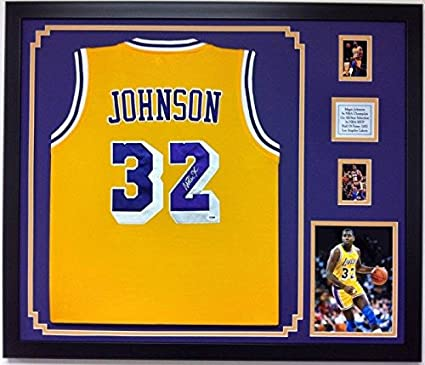 cba7eeeac7d Magic Johnson Autographed Framed Jersey Los Angeles Lakers Signed PSA Frame  at Amazon's Sports Collectibles Store