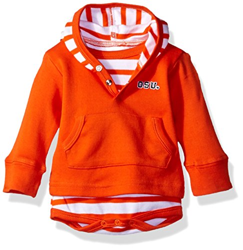 Two Feet Ahead NCAA Oregon State Beavers Children Unisex Stripe Hooded Creeper,Nb,Orange (Orange Embroidered Creeper)