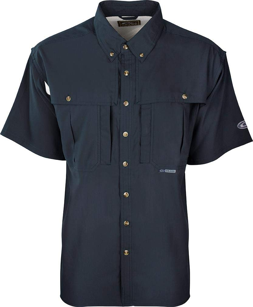 Drake Waterfowl Flyweight Wingshooter's Shirt S/S - Khaki (Navy, 5X-Large) by Drake