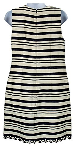 With Navy 4 Grommets Dress Multi Crew Size Striped Scalloped E8993 J S qxgP8IwXna