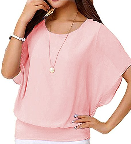 Hount Womens Casual Loose Chiffon Blouses Scoop Neck Short Sleeve Tops Shirts (Large, Pink) (Pink Top Blouse Shirt)