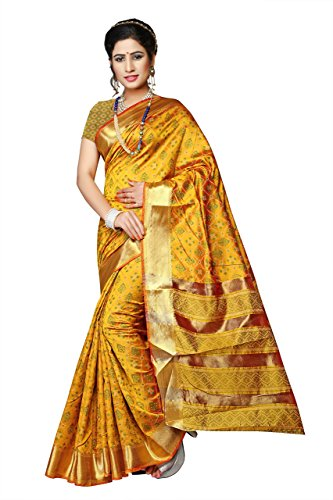 Urban India Silk Saree Free Size Yellow